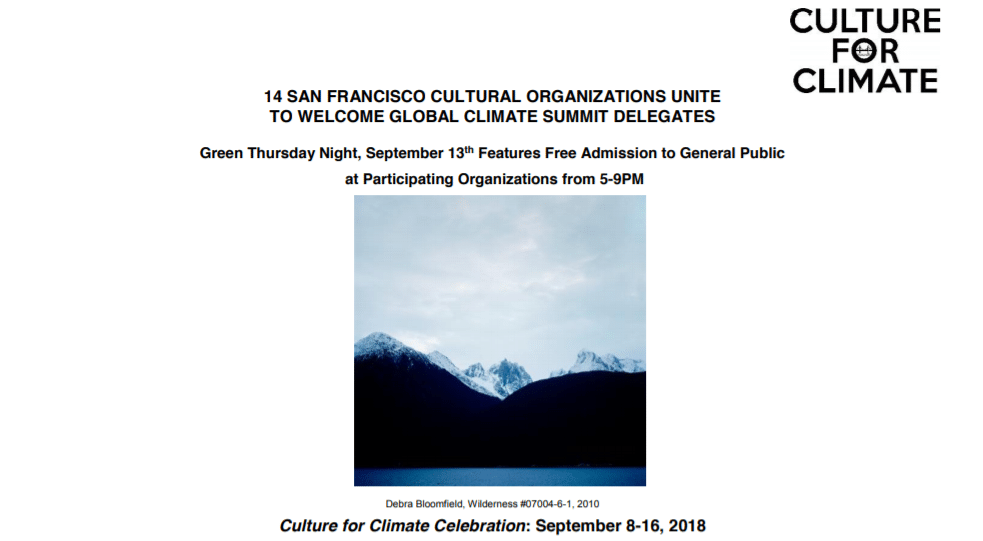 14 SAN FRANCISCO CULTURAL ORGANIZATIONS UNITE TO WELCOME GLOBAL CLIMATE SUMMIT DELEGATES