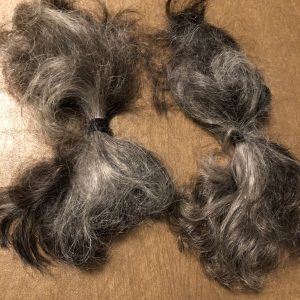 2 hanks of wavy dark gray hair, each about 6 inches long